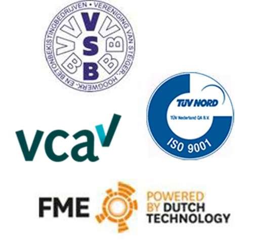 De Jong's Liften heeft alle benodigde certificeren en keuringen doorlopen. VSB - TUV Nord - VCA en FME
