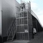 Magazijnlift voor vervoer banden - buitenopstelling - De Jong's Liften
